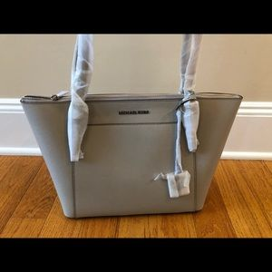 Michael Kors Brand New Gray Leather Ciara Tote
